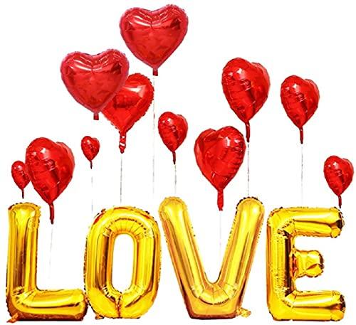 MMTX Globo de papel de aluminio en forma de corazón rojo Amor Globo en forma de corazón Decoraciones para el día de San Valentín Decoraciones románticas Decoraciones para bodas