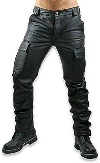 Mens Real Black Leather Cargo Pants Motorbike Motorcycle Biker Trouser Jeans for Men