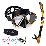 OMGear Snorkel Set Mask and Snorkel Dive Mask Snorkel Kit Swim Goggles with Nose Snorkeling Glasses Dry Snorkel Gear Scuba Diving Swimming with Neoprene Strap Mesh Bag(Gold)
