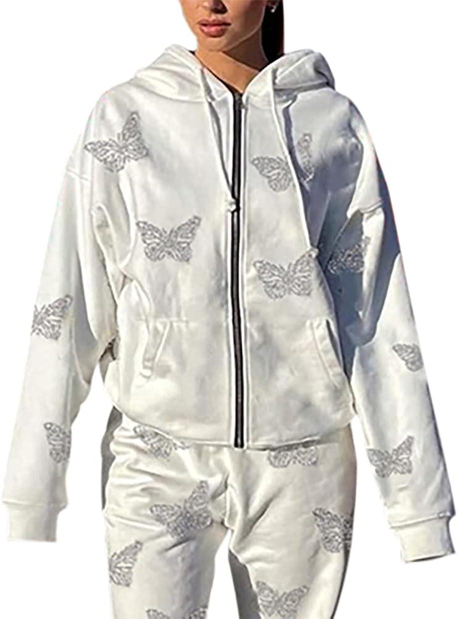 SAFRISIOR Women Y2K Rhinestone Butterfly Print Full Zip Hooded Sweatshirt Oversized Long Sleeve Casual Hoodies Jacket