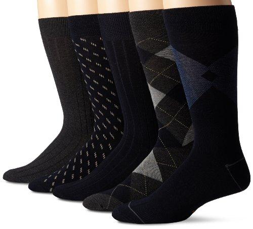 Dockers Men's 5-Pack Classic Argyle Asst. Pattern Dress Crew, Navy, Shoe Size: 6-12 (Sock Size: 10-13)