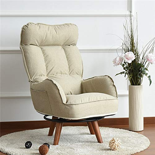GYCOZ Home Decoration Contemporary Swivel Accent Arm Chair Home Living Room Furniture Reclining Folding Armchair Sofa Low Swivel Chair For Elderly (Color : Khaki Color)