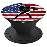 Football USA Flag Player Christmas Birthday Gift PopSockets Grip and Stand for Phones and Tablets