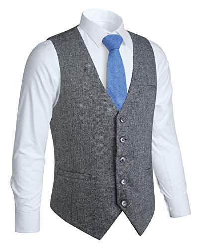 HISDERN Manner formale Hochzeit Party 5 Tasten Wolle Weste Herringbone Tweed Westen Kleid Anzug Weste