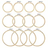 Caydo 12 Pieces 3 Size Bamboo Embroidery Hoops, 4in 5in 6in Cross Stitch Hoop for DIY Art Craft Handy Sewing