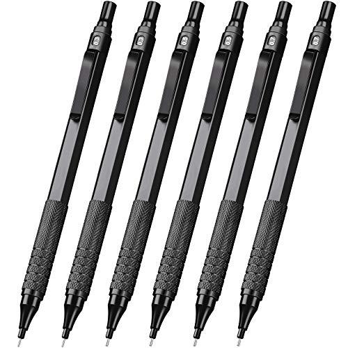 6 Stücke Metall Druckbleistifte 0,3 mm, 0,5 mm und 0,7 mm Automatische Druckbleistifte Schreibstifte, 9 Röhren HB Minen und 2 Stücke Radiergummis für Schreiben Entwurf, Zeichnen, Skizzieren (Schwarz)