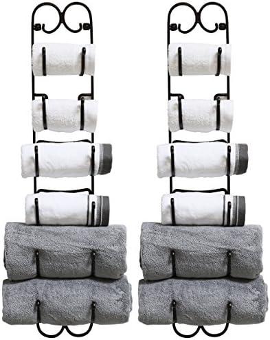 DecoBros 2 Pack Wall Mount Multi Purpose Towel Wine Hat Rack Bronze product image