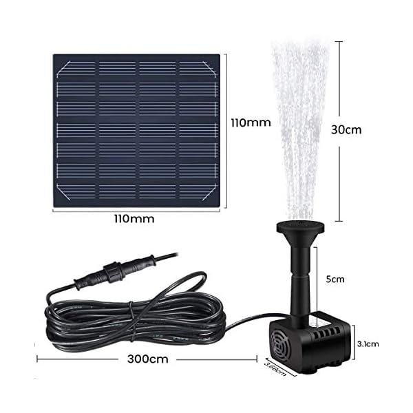 REUUY Bomba de fuente solar, 1,4 W, bomba de agua solar, batería integrada, con 4 boquillas, para baño de pájaros…