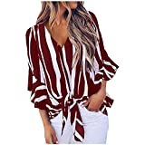 Womens Striped T-Shirt V Neck Off Shoulder Bell Short Sleeve Shirt Tie Knot Casual Summer Blouses Tops Red