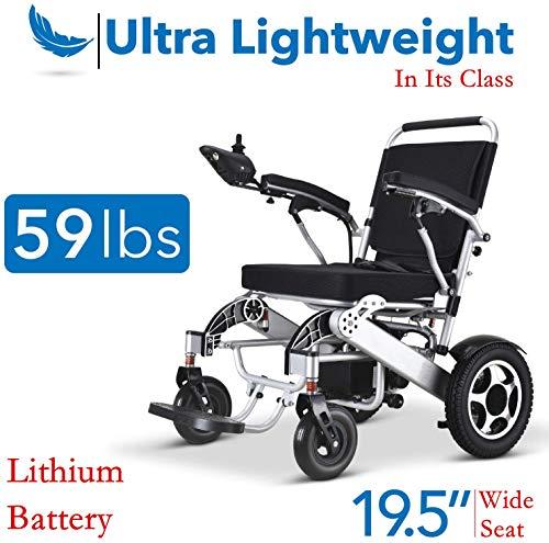 51C4gyF7+mL. SL500  - MUJO Silla de ruedas eléctrica Plegable Ligera Deluxe Plegable Potencia de movilidad compacta Silla de ruedas Peso
