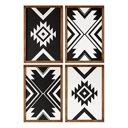 ODUN ARTS - Set de 4 cuadros Tribales Dinka - Cuadros Decorativos Modernos Elaborados en Madera - Decoración Elegante de Pared - 60 cm Alto X 40 cm Ancho X 2 cm de Espesor (Cada cuadro) - Blanco / Negro - Adorno Decorativo para Hogar y Recamara