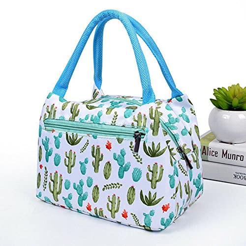 2019 El más nuevo Hot 1PC Unicornio Bolsas florales Bolsa fresca aislada Bolsas de picnic Bolsas de viaje escolar Bolsas de lonchera de gran capacidad con Zip-cactus