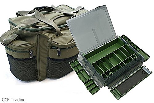 CARP FISHING LARGE HOLDALL CARRYALL BAG & TACKLE BOX & RIG BOX NGT