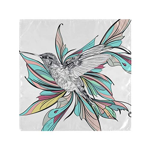 Satin Napkins Set of 6, Art Illustration Humming Bird Colorful Wings,Square Printed Party & Dinner Cloth Napkins,20' X 20'