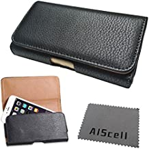 for HTC ONE M9 / HTC ONE M8 Horizontal Black Leather Sleeve Carry Case Belt Clip Holster ZW Pouch (for Bare Phone ONLY) + AIS Cell Phone Microfiber Cleaning Cloth (by All_instore)