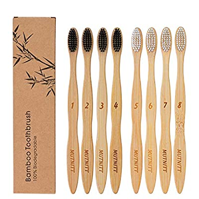 Bamboo Toothbrush,16 Pcs Biodegradable Reusable Wooden Toothbrushes,Eco-Friendly Natural Organic Bamboo Toothbrush,Soft BPA Free Bristles,Smooth Recyclable Handle,Compostable Toothbrush Family Pack