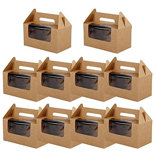 10 cajas de 2 agujeros para cupcakes,cajas de pastelería con ventanas y asa,6 pulgadas cajas de galletas Cajas de pastelería Cajas de muffins Cajas de regalo de papel para pasteles,galletas Brown