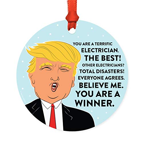 Andaz Press Round Natural Wood MDF Christmas Ornament Gift, Funny President Donald Trump, Terrific Electrician, 1-Pack, Includes Ribbon, Keepsake Gifts for Coworkers