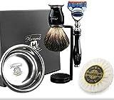 Haryali London - Juego de afeitado para hombre con navaja de afeitar con 5 cuchillas, brocha de afeitar, soporte de afeitar, jabón de afeitar y bandeja de afeitado