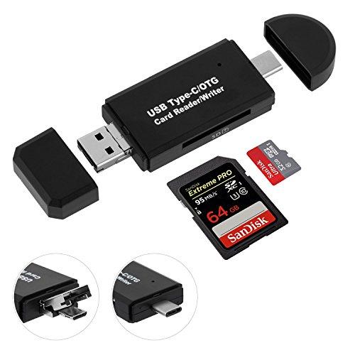 Lector de Tarjetas de Memoria SD/Micro SD, Sonoka Adaptador Micro USB OTG y Lector de Tarjetas USB 2.0 para Computadoras de Escritorio y Portátiles / Teléfonos Inteligentes / Tabletas con Función OTG