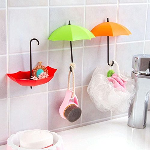 Generic 3/Regenschirm zufällige Farbe Wandhalterung Haken Schlüssel Halter Aufbewahrung Ständer Haken zum Aufhängen für Bad Küche Tür Regalen