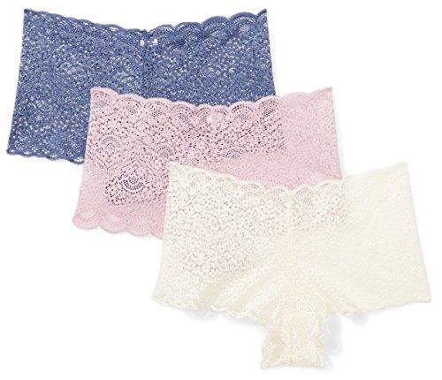 亚马逊品牌 -  Mae女士加仑蕾丝厚脸皮,3包,蓝靛/古董白色/黎明粉色,大