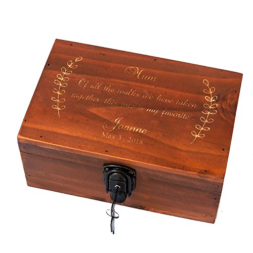 Awerise Personalized Wooden Keepsake Box w/Lock Key, Custom Jewelry Box, Bridesmaid Box, Mother Girlfriend Gift
