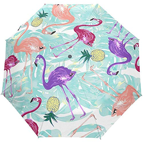 Hallo Willkommen Tropical Flamingo Floral Flowers Auto Öffnen Schließen Regenschirme Anti UV Folding Compact Automatic Umbrella