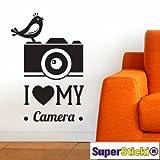 Supersticki® - Adhesivo de pared (60 x 60 cm), diseño con texto 'I Love My Camera'