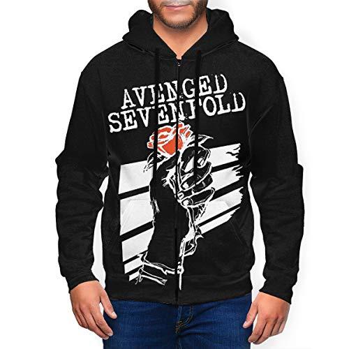 HazelTDahl Avenged Sevenfold Men's Full Zip Long Sleeved Hooded Sweatshirt Hoodie Jacket Sweater Black