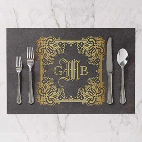 onepicebest Placemats, Washable Monogram Classic Gold Frame Antique Leather Fancy Placemat, Heat-resistand Table Mats for Dining Table Set of 4