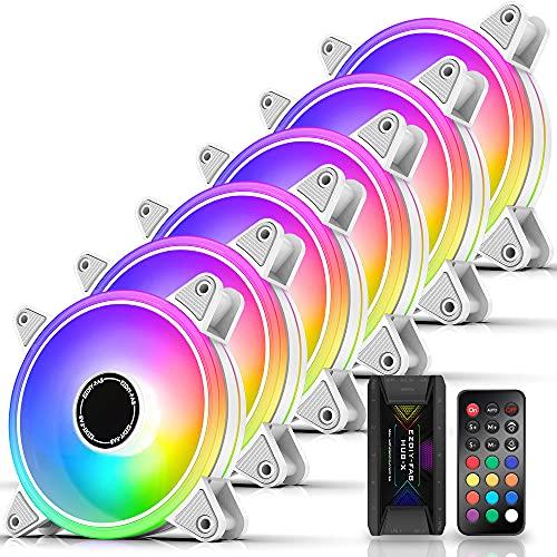 EZDIY-FAB Blanc Moonlight Ventilateur de boîtier RVB 120 mm avec concentrateur de Ventilateur Remote, Carte mère Aura Sync, Ventilateur adressable pour boîtier PC-6 Pack