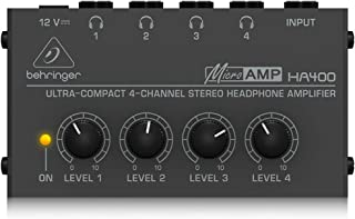 Behringer Microamp HA400 Ultra-Compact 4-Channel Stereo Headphone Amplifier,Silver