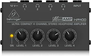 ベリンガー ヘッドフォンアンプ 4チャンネル 独立レベル調整可能 HA400