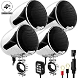 GoHawk AN4-QX All-in-One 1200W Built-in Amplifier 4.5' Waterproof Bluetooth Motorcycle Stereo 4 Speakers Audio Amp System AUX for 1-1.5' Handlebar Harley CVO Touring Cruiser Custom Can-Am ATV