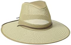 Soft Mesh Breezier Crushable Hat 1 inch self bad and chincord 3.5 inch brim 1 inch self bad and chincord 3.5 inch brim Hat is cotton, mesh on the hat is nylon