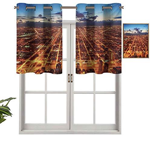 Hiiiman Panel de cortina para interiores con cenefa de techo de Chicago Downtown Skyline, vista panorámica al atardecer con rascacielos, juego de 2, 42 x 24 pulgadas para baño y café