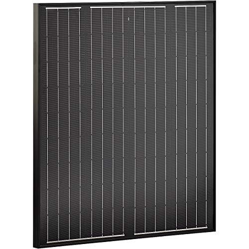 ECTIVE 12V 80W Monokristallines Solarmodul Black Edition mit 36 Zellen | Solarpanel mit Sicherheitsglasplatte in 4 Varianten 80-180 Watt