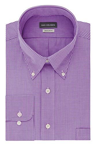Van Heusen Men's Regular Fit Gingham Button Down Collar Dress Shirt, Amethyst, X-Large