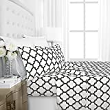Italian Luxury 1800 Hotel Collection Quatrefoil Pattern Bed Sheet Set - Deep Pockets, Wrinkle and Fade Resistant, Hypoallergenic Printed Sheet and Pillow Case Set-King-White