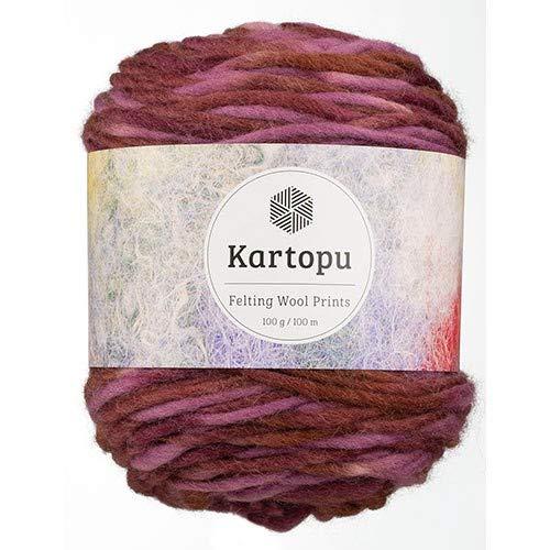 Kartopu Filzwolle 100gr Knaul,Uni+Color,100m Lauflänge, 100% Schurwolle, Mengen und Farbe frei wählbar (2236 weinrot Color)