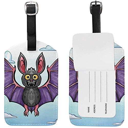 Art Bat Imprimir Cuero Equipaje Equipaje Maleta Etiqueta de identificación Etiqueta para Viajes (2 Piezas)