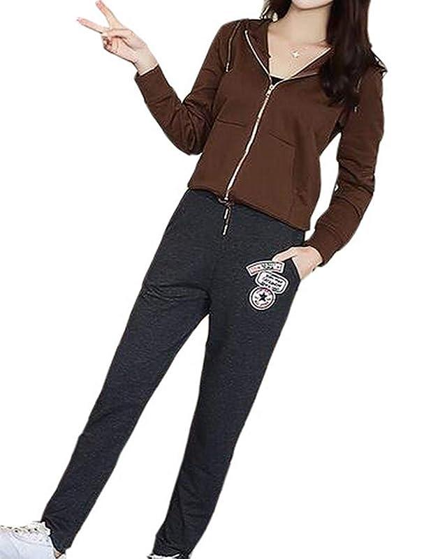 冷淡な取り出す立方体女性カジュアルスポーツフーディジャケットトップロングパンツセットトラックスーツ 1 US Medium