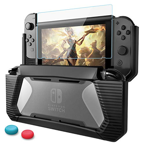 HEYSTOP Compatible with Nintendo Switch Case with Screen Protector TPU Protective Heavy Duty Cover Case for Nintendo Switch with Shock-Absorption and Anti-Scratch (Black)