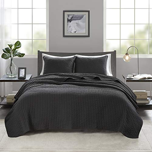 """Madison Park Keaton Quilt Set - Casual Channel Stitching Design Anti-Microbial Treated, All Season, Lightweight Coverlet Bedspread Bedding, Shams, Full/Queen(90""""x90""""), Stripe Black"""