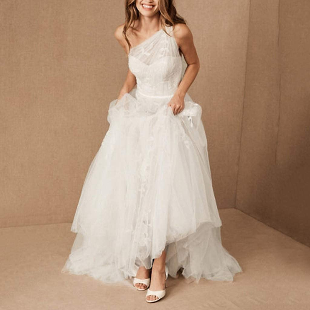 MoonHome Womens Wedding Dress Lace Embroidered Oblique Shoulders Sleeveless Evening Dress Bridal Gowns