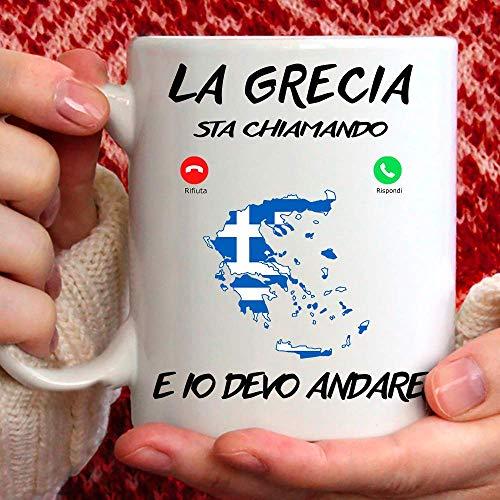 Taza Grecia, apta para desayuno, té, tisana, café, capuchino. Gadget Taza la Grecia Mi Sta llamando y yo debo Andare. Idea de regalo original