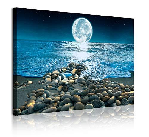 DekoArte 345 - Cuadros Modernos Impresión de Imagen Artística Digitalizada | Lienzo Decorativo para Tu Salón o Dormitorio | Estilo Paisaje Nocturno con la Luna iluminando la Playa|1 Pieza 120x80cm