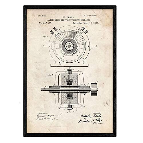 Nacnic Poster con Patente de Generador Corriente alterna. Lámina con diseño de Patente Antigua en tamaño A3 y con Fondo Vintage