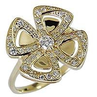 真珠の杜 ダイヤモンド K18イエローゴールド フラワー 花 リボン クローバー モチーフ 可愛い diamond ダイヤ flower 四つ葉 リング レディース 13号